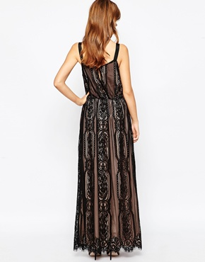 photo Black and Nude Lace Maxi Dress by Adelyn Rae, color Black Nude - Image 2