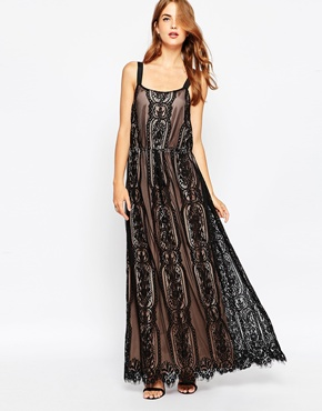 photo Black and Nude Lace Maxi Dress by Adelyn Rae, color Black Nude - Image 1