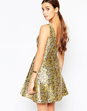 photo Gold Skater Dress by Adelyn Rae, color Gold - Image 2