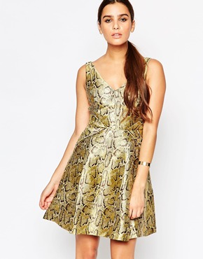 photo Gold Skater Dress by Adelyn Rae, color Gold - Image 1