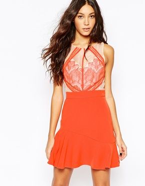 photo Lace Dress with Cut Out Detail by Adelyn Rae, color Tomato Red - Image 1