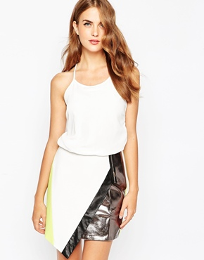 photo Metallic Panel Dress by Adelyn Rae, color Off White - Image 1