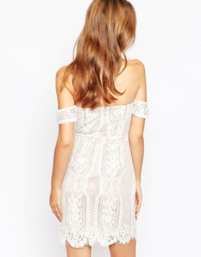 photo White and Nude Lace Off the Shoulder Dress by Adelyn Rae, color White Nude - Image 2