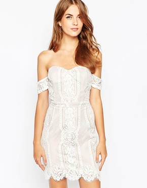photo White and Nude Lace Off the Shoulder Dress by Adelyn Rae, color White Nude - Image 1