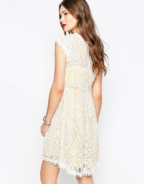 photo White and Yellow Lace Dress by Adelyn Rae, color White Mari Gold - Image 2