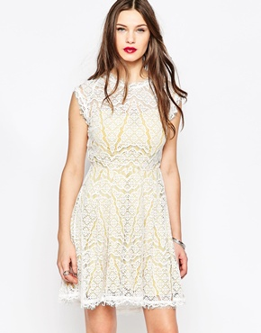 photo White and Yellow Lace Dress by Adelyn Rae, color White Mari Gold - Image 1