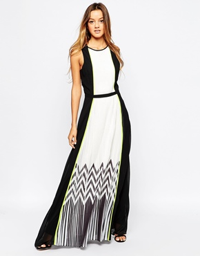photo Zig Zag Pleat Maxi Dress by Adelyn Rae, color Black White - Image 1