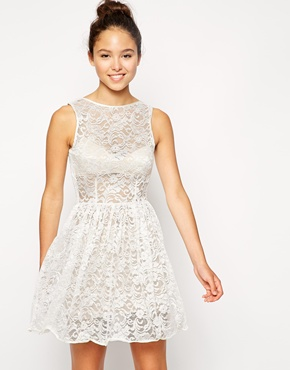 photo Sleeveless Lace Dress by American Apparel, color Ivory Leaf Flower - Image 1