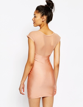 photo Sweetheart Neck Bodycon Dress by American Apparel, color Shiny Peach - Image 2