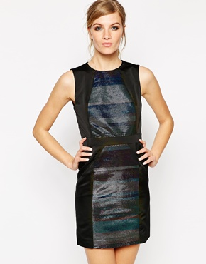 photo Janis Metallic Striped Dress by American Retro, color Black - Image 1