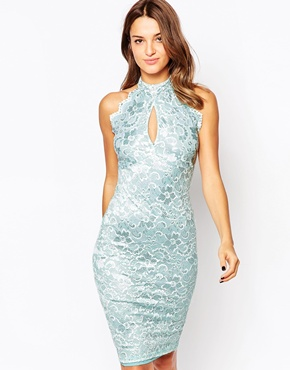 photo Misha Lace Halterneck Midi Dress by Amy Childs, color Blue - Image 1