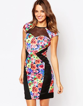 photo Serena Floral Panelled Dress by Amy Childs, color Multi - Image 1