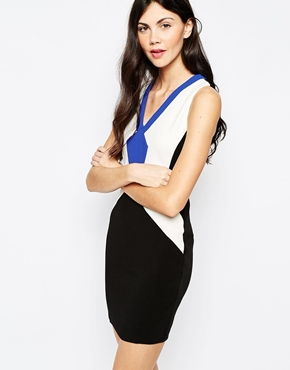 photo Colourblock Bodycon Dress by Aryn K, color Multi - Image 1