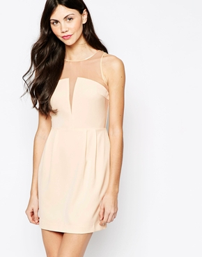 photo Dress with Sheer Neckline by Aryn K, color White - Image 1