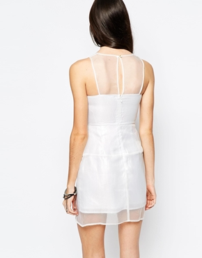 photo Dress with Sheer Panels by Aryn K, color White - Image 2
