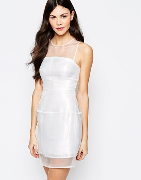 photo Dress with Sheer Panels by Aryn K, color White - Image 1