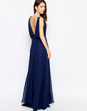 photo Ashley Roberts for Key Collections Brilliance Maxi Dress, color Navy - Image 2