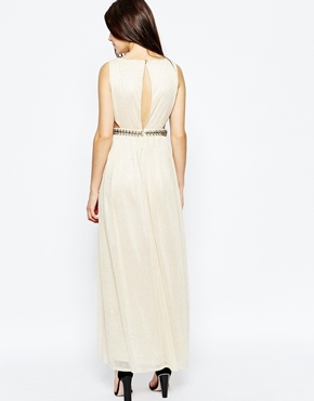 photo Ashley Roberts for Key Collections Cleopatra Maxi Dress, color Gold - Image 2
