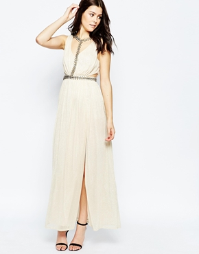 photo Ashley Roberts for Key Collections Cleopatra Maxi Dress, color Gold - Image 1