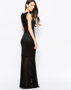 photo Ashley Roberts for Key Collections Dazzle Maxi Dress with Sheer Inserts, color Black - Image 2