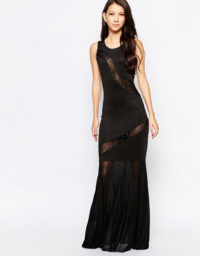 photo Ashley Roberts for Key Collections Dazzle Maxi Dress with Sheer Inserts, color Black - Image 1
