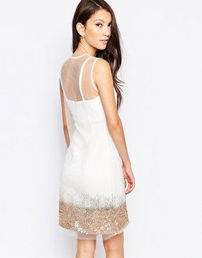 photo Ashley Roberts for Key Collections Mist Dress with Sequin Trim, color White - Image 2