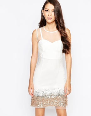 photo Ashley Roberts for Key Collections Mist Dress with Sequin Trim, color White - Image 1