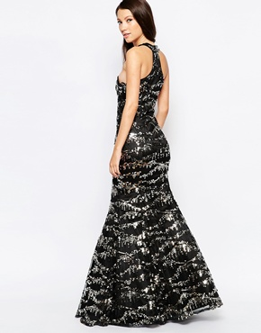photo Ashley Roberts for Key Collections Sparkle Maxi Dress in Sequins, color Black - Image 2