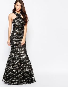 photo Ashley Roberts for Key Collections Sparkle Maxi Dress in Sequins, color Black - Image 1