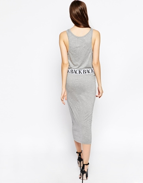 photo Logo Elastic Sleeveless Tank Dress by BACK By Ann Sofie Back, color Grey Marl - Image 2