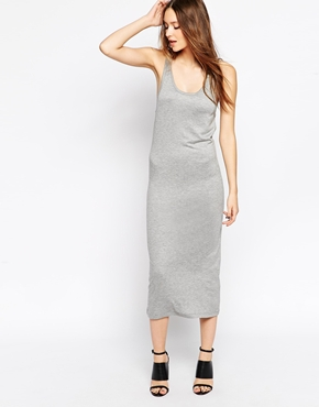 photo Logo Elastic Sleeveless Tank Dress by BACK By Ann Sofie Back, color Grey Marl - Image 1