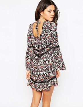 photo Bell Sleeve Dress by Band of Gypsies, color Navy Floral - Image 2