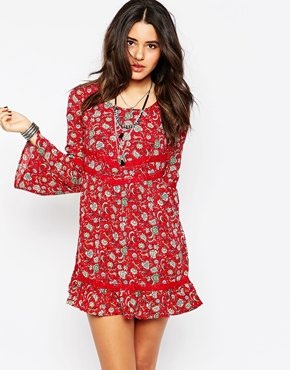 photo Bell Sleeve Dress by Band of Gypsies, color Red Floral - Image 1