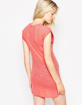 photo Stripe Burnout Roll Sleeve Jersey Dress by Bellfield, color Coral - Image 2
