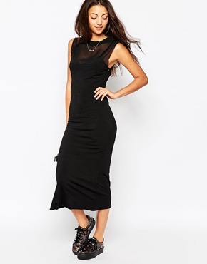 photo Bitching & Junkfood Delivery Sleeveless Midi Bodycon Dress, color Black - Image 1