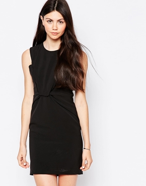 photo Sleeveless Shift Dress with Knot Front by By Zoe, color Nuit - Image 1