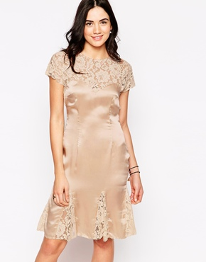 photo Catherine Dress with Lace Inserts by Candela NYC, color Blush - Image 1