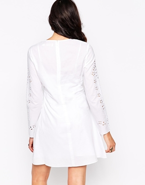 photo Long Sleeve Dress with Laser Cut Outs by Candela NYC, color White - Image 2