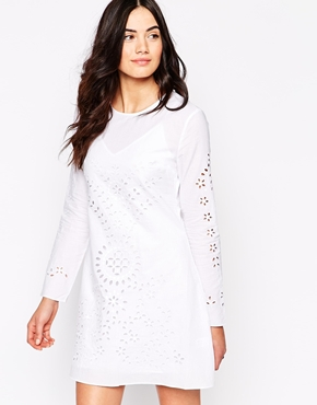 photo Long Sleeve Dress with Laser Cut Outs by Candela NYC, color White - Image 1