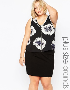 photo Plus Size Haslam Dress with Floral Print Overlay by Carmakoma, color Flower Boom - Image 1
