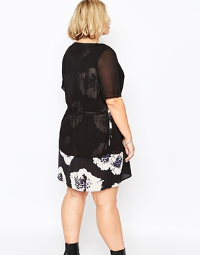 photo Plus Size Lipson Dress with Sheer Overlay by Carmakoma, color Flower Boom - Image 2