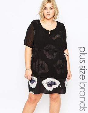 photo Plus Size Lipson Dress with Sheer Overlay by Carmakoma, color Flower Boom - Image 1