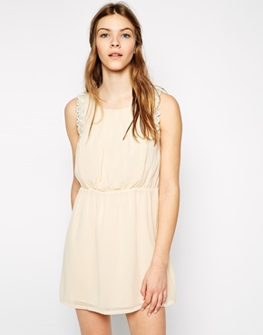 photo Dress with Scallop Lace Trim by Colorblock, color Beige - Image 1