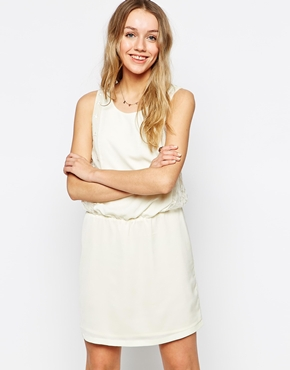 photo Dress with Star lace Detail by Colorblock, color Off White - Image 1