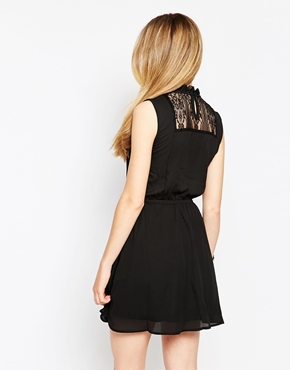 photo Wool Mix High Neck Dress with Lace Detail by d.RA, color Black - Image 2