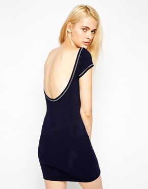 photo Dress with Low Back and Zig Zag Stitching by Earth Couture, color Navy - Image 2