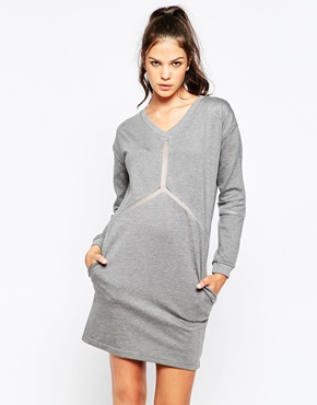 photo Knit Dress with Sheer Detail by Eleven Paris, color Grey Chine - Image 1