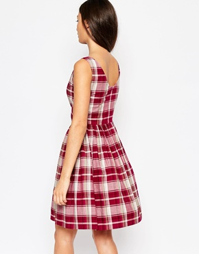 photo Emily & Fin Abigail Dress In Check Print, color Red - Image 2