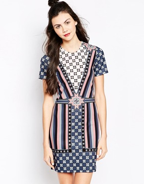 photo Geo Print Dress by Emma Cook, color Peach - Image 1