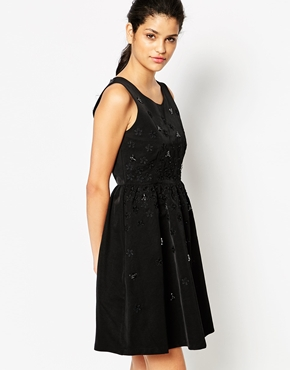 photo Imylt Dress with Floral Embellishment by Frankie Morello, color Black - Image 1